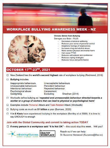 Workplace Bullying Awareness Week 2021, New Zealand